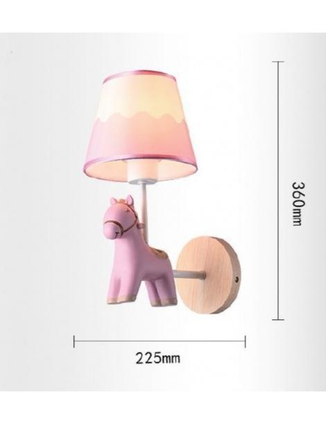 Applique da parete cavallo luce led E27 lampada notturna muro rosa celeste per camera bambini
