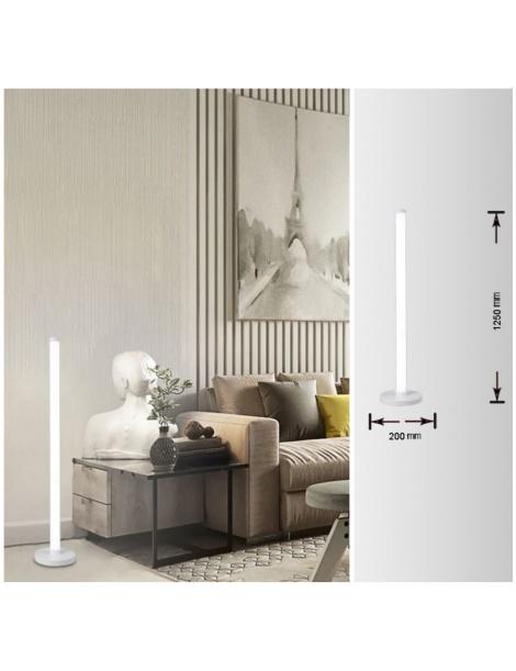 Lampada da terra luce led 20w lume a piantana lineare bianco stile moderno per salotto soggiorno