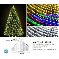 Mantello led per albero di Natale da 180 a 210 cm rete luminoso natalizio 198 luci filo verde luce bianca calda multicolor