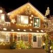 Tenda luminosa natalizia luci led flash di natale per feste uso esterno cavo bianco impermeabile a cascata