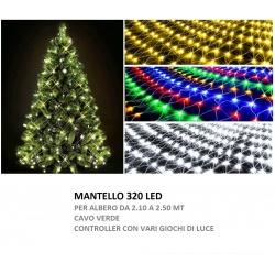 Mantello led albero di Natale 250cm filo verde rete luminoso luce bianco freddo calda multicolor