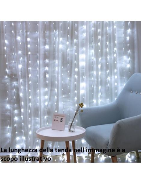 Tenda luminosa 8X0,70 m 480 led Addobbo luci di natale festa effetto cascata pioggia per esterno luce bianca calda multicolore