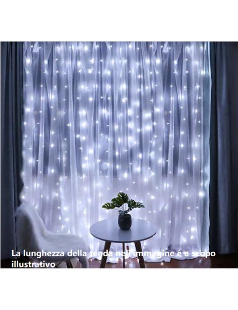 Tenda luminosa 128LED 2x1 mt per Natale addobbo serie luci natalizie festa luce multicolore bianco