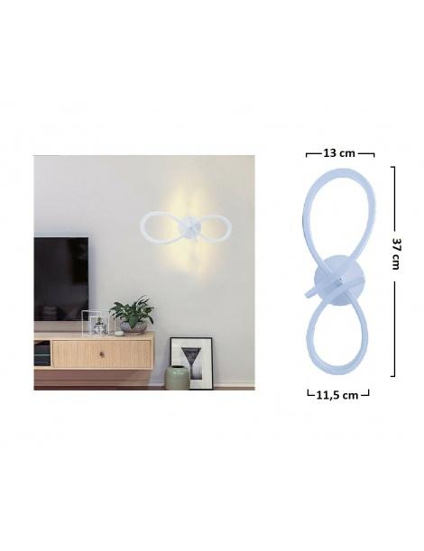 Applique led 12w infinito lampada da parete intrecciato bianco stile moderno luce fredda naturale calda