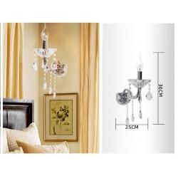 Applique da parete con cristalli in vetro singola luce led E14 lampada lume muro design classico argento oro