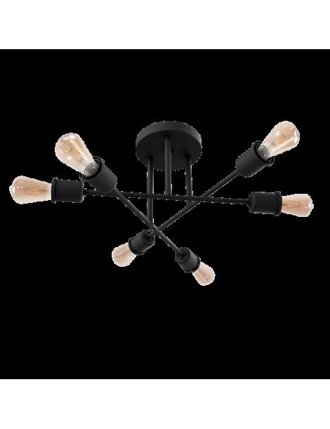 Lampadario plafoniera luce led E27 lampada da soffitto in metallo nero portalampada stile moderno minimal
