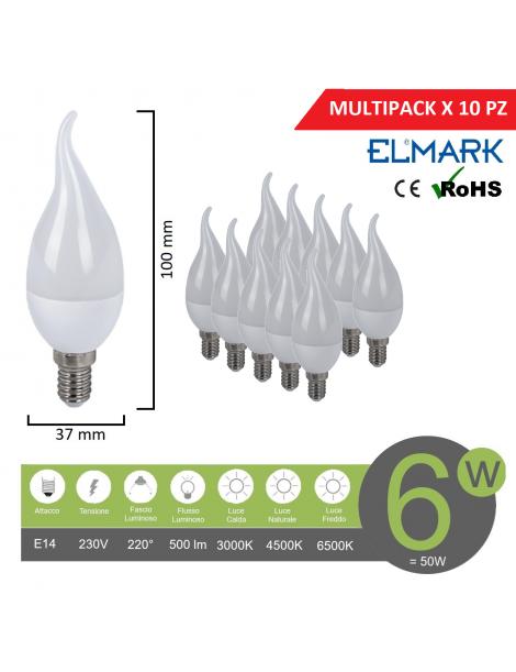 Promopack x 10 pz lampadina led candela e14 6w attacco piccolo Fiamma tortiglione basso consumo fredda naturale calda