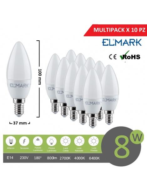 Promopack x 10 pz lampadina led oliva E14 8w attacco piccolo bianco basso consumo luce fredda naturale calda