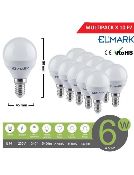 Promopack x 10 pz lampadina led globo G45 E14 6w attacco piccolo sfera bianco basso consumo luce fredda naturale calda