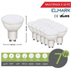 Promopack x 10 pz faretto led 7w attacco gu10 bianco lampadina copertura opaca luce fredda naturale calda