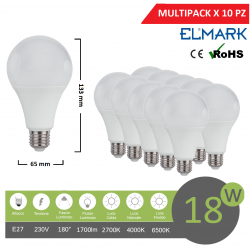 Promopack x 10 pz lampadina led globo A65 E27 18w attacco grande sfera basso consumo luce fredda naturale calda