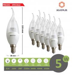 X10 Lampadina led 5w E14 candela trasparente attacco piccolo luce bianco naturale calda Mapam