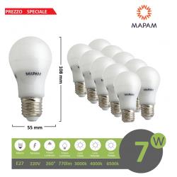 X10 Lampadina led E27 bulbo A55 7W globo luce bianca naturale calda Mapam