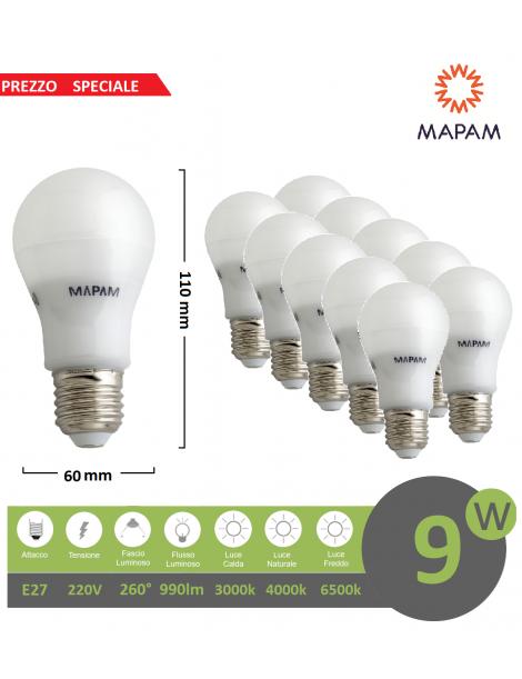 X10 Lampadina led E27 bulbo A60 9w attacco grande globo luce bianca naturale calda Mapam