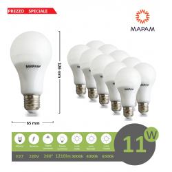 X10 Lampadina led E27 bulbo A65 11w attacco grande luce calda 3000k Mapam