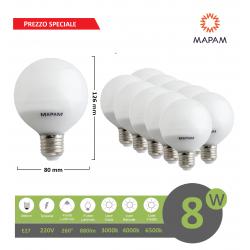 X10 Lampadina led E27 globo G80 8W luce fredda naturale calda bulbo sfera palla Mapam