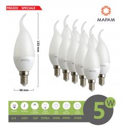 X10 Lampadina led E14 candela opaca 5w attacco piccolo fiamma luce bianca naturale calda Mapam