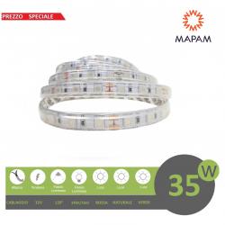 Striscia led 5050 IP65 300 led 12V 5m adesiva per esterno impermeabile luce naturale rosso verde