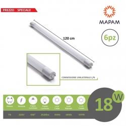 X6 Tubo led 18w attacco T8 neon 120 cm connessione unilaterale L/N in nano tubi luce naturale 4500k