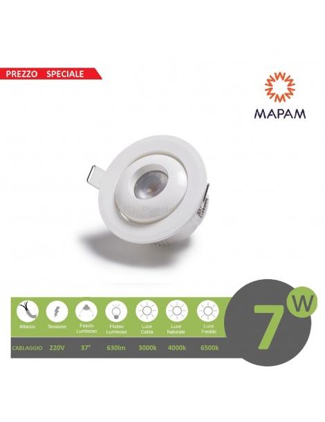 Faretto led cob 7w orientabile tondo 220V ghiera bianco da incasso cartongesso luce fredda naturale calda Mapam