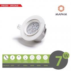 Faretto led 7w orientabile tondo 220V ghiera bianco da incasso cartongesso luce fredda naturale calda Mapam