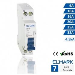 Interruttore automatico magnetotermico modulare 1P+N 4,5KA CURVA C per guida din 1 modulo protezione sovraccarico
