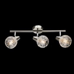 Lampadario moderno a plafoniera faretto led spot luce orientabile E14 camera da letto salotto alluminio spazzolato