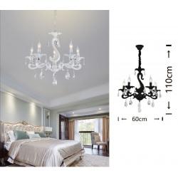Lampadario sospeso classico con cristalli a 5 luci E14 design vintage pendente nero bianco cucina camera salotto