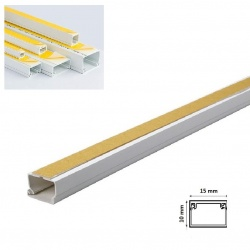 2mt Canalina adesiva 15x10 mm per cavi elettrica in plastica passacavi bianco coprifili a parete con copertura