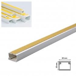 2mt Canalina adesiva 20x10 mm per cavi elettrica in plastica passacavi bianco coprifili a parete con copertura