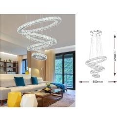 Lampadario a sospensione led 51w con cerchi cristalli lampada da soffitto design moderno luce bianco