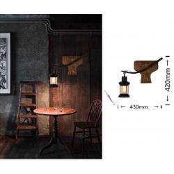 Applique da parete luce led E27 lanterna nero in metallo legno design vintage lampada muro rustico