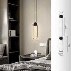 Lampadario sospeso led 14w ovale nero lampada da soffitto comodino design moderno