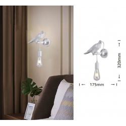 Applique da parete uccellino luce led E27 design moderno bianco lampada decorativa animali