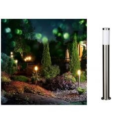 Lampione luce led attacco E27 lampada da terra per esterno giardino acciaio alluminio segnapasso rotondo