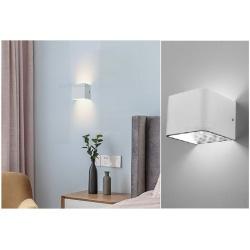 Applique led cob 7w cubo quadrato bianco con biemissione di luce naturale lampada da parete design moderno