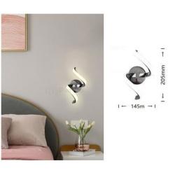 Applique a parete led 9w spirale verticale argento design moderno luce bianco naturale per interno comodino camera