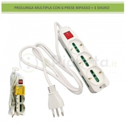 Multipresa prolunga elettrica con 6 prese bipasso + 3 shuko 16A 250V ciabatta bianco cavo 1.5 mt con interruttore
