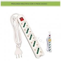 Multipresa prolunga elettrica con 5 prese shuko 16A 250V ciabatta bianco cavo 1.5 mt con interruttore