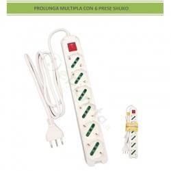 Multipresa prolunga elettrica multipresa con 6 prese shuko 16A 250V ciabatta bianco cavo 1.5 mt con interruttore