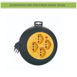 Prolunga avvolgibile avvolgicavo bobina elettrico 3m 4 prese bipasso shuko 10 16A spina grande con pulsante di protezione