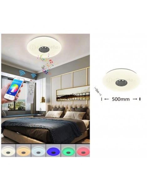 Plafoniera led RGB musicale bluetooth con telecomando lampadario luce muticolore rotonda cerchio bianco da soffitto moderna