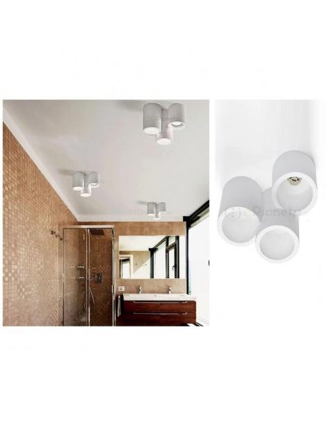 Plafoniera cilindro 3 luci led attacco GU10 in gesso lampada da soffitto moderno bianco verniciabile