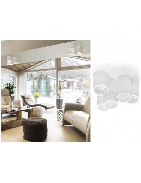 Plafoniera 5 cilindri in gesso luce led attacco GU10 lampada da soffitto moderno bianco verniciabile