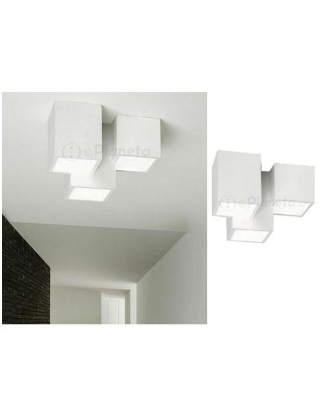 Plafoniera cubo 3 luci led attacco GU10 in gesso lampada da soffitto quadrata moderno bianco verniciabile