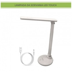 Lampada da scrivania lineare led touch luce lettura ricaricabile usb bianco orientabile lume tavolo comodino design moderno