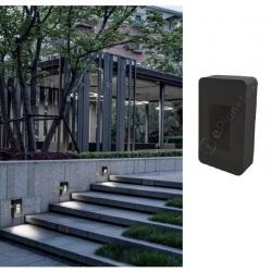 Segnapasso led cob 12w quadrato nero faretto da esterno a parete IP65 per giardino scale luce bianca naturale calda