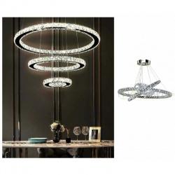 Lampadario sospeso luce led 55w 3 cerchi anelli cristallo design moderno cromato argento lampada da soffitto circolare