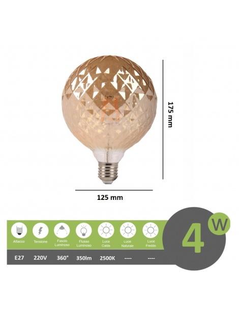 Lampadina filamento led attacco grande E27 4W sfera globo ambra effetto cristallo lampada decorativa vintage luce calda