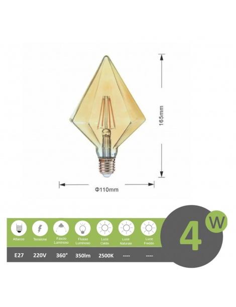 Lampadina filamento led attacco grande E27 4W diamante ambra lampada decorativa vintage luce calda